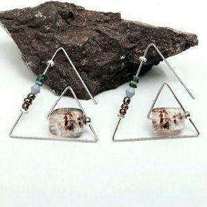 Earrings Threader Triangle Silver Artist USA made